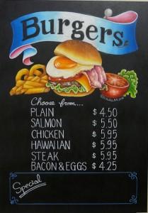 ハンバーガー、メニューボード