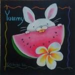 8月 体験デザイン スイカを食べるウサギ