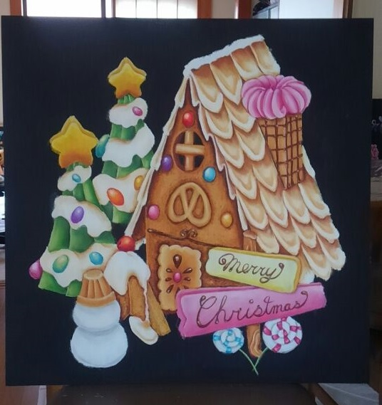 チョークアート お菓子の家